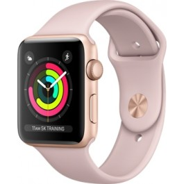 Apple Watch Series 3 GPS 42mm Gold Aluminum w. Pink Sand Sport B. - Gold (MQL22)